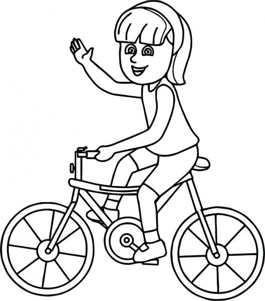 Desenhos De Menina Andando De Bicicleta Para Colorir E Imprimir