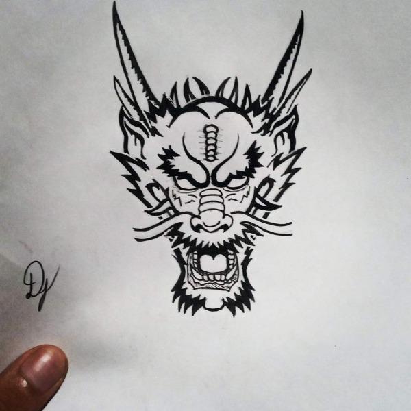 Dragão Oriental Fiz Com Nanquim Brush Fb