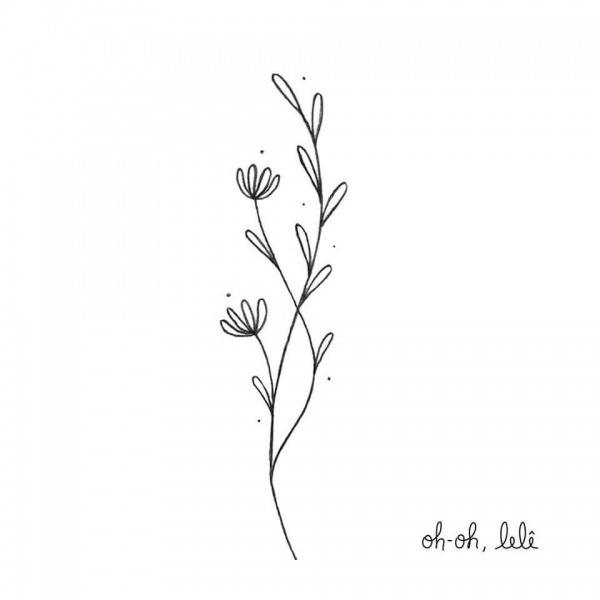 Little Branches With Flowers  A Delicate Illustration