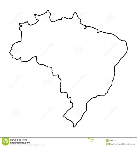 Brazil Map Of Black Contour Curves Vector Illustration Stock
