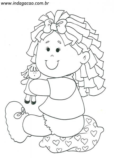 Desenho De Menina Brincado Com Boneca