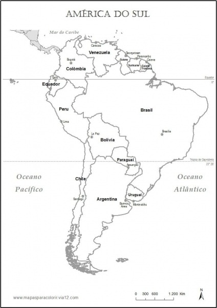 Mapa Da Am Rica Do Sul Para Pintar