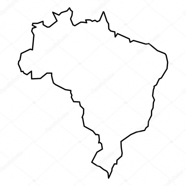 Black Contour Map Of Brazil — Stock Vector © Pyty  124942634