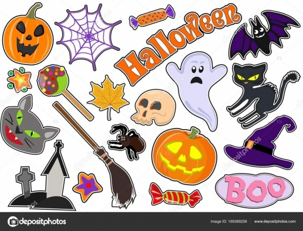 Set Of Icons With Figures For Halloween  Drawing Stickers  Vector