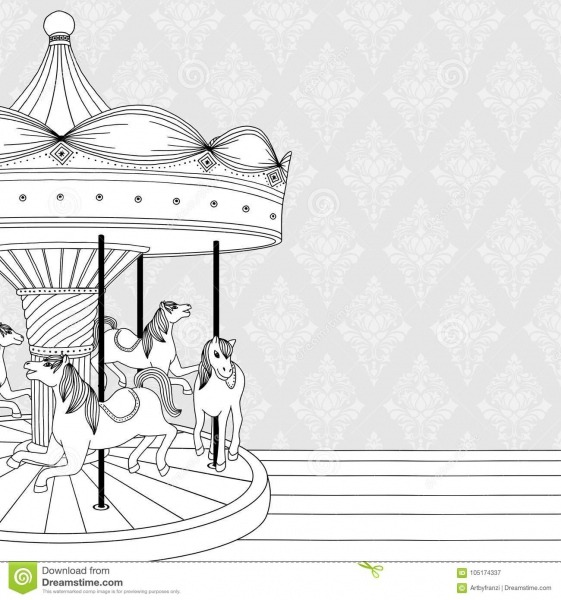 Desenho Preto & Branco Do Carrossel Do ` Das Crianças Ilustração
