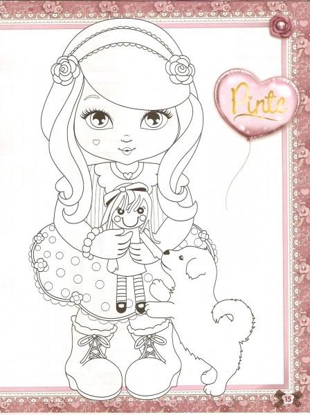 Desenho De Elisa Com Bonequinha E Cachorrinho Para Colorir