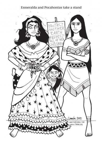 Desenho De Esmeralda E Pocahontas Para Colorir