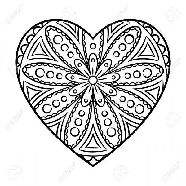 Desenhos De Mandala Do Coração Para Colorir E Imprimir