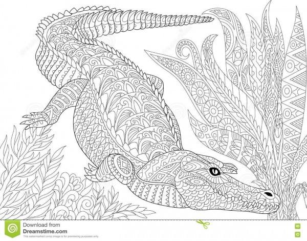 Jacaré Estilizado Do Crocodilo Ilustração Do Vetor