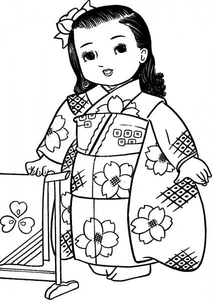 Mais Meninas Japonesas Para Colorir