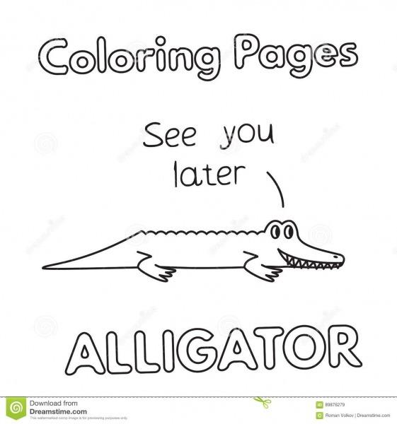 Livro Para Colorir Do Jacaré Dos Desenhos Animados Ilustração Do