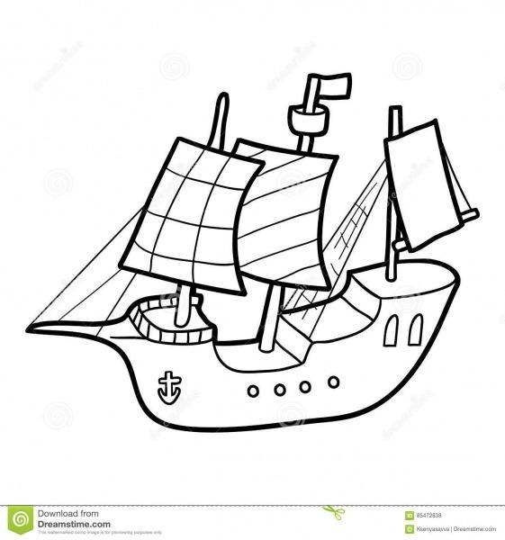 Livro Para Colorir, Navio De Navigação Ilustração Do Vetor