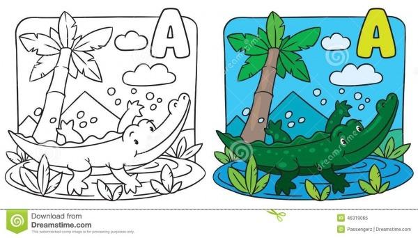 Livro Para Colorir Pequeno Do Crocodilo Alfabeto A Ilustração Do