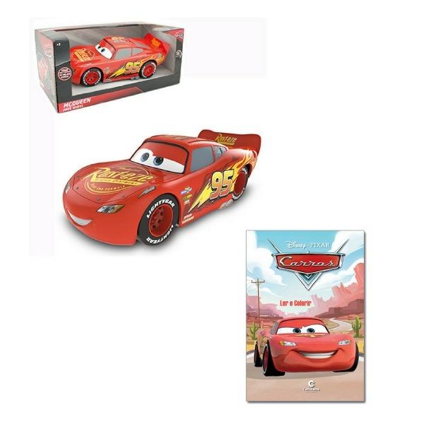Mcqueen Carro Relâmpago Roda Livre Disney Carros + Brinde