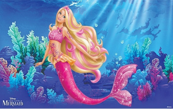 Painel De Festa Barbie Sereia 3x2 + Tapete 7x2 + 8 Pç 1mt