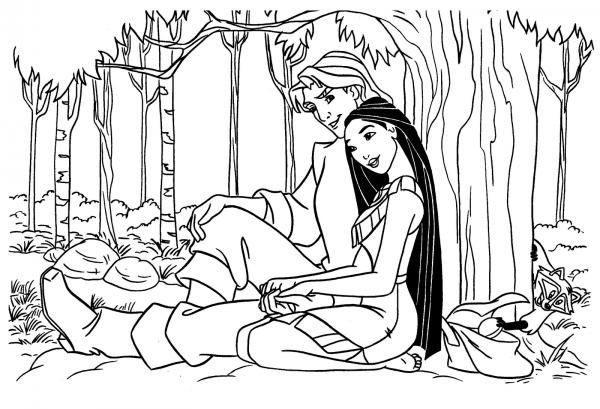 Desenho De Pocahontas Abraçando Príncipe Para Colorir