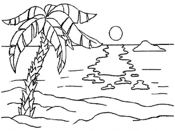 Desenhos Para Colorir Natureza  Paisagem, Floresta, Montanhas, Mar
