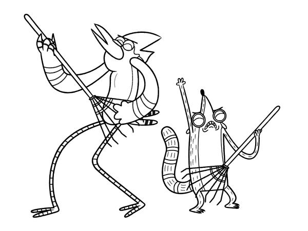 Desenhos De Mordecai E Rigby Em Apenas Um Show Para Colorir E