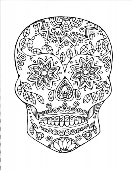 Sugar Skull Coloring Page, Adult Coloring Page  Colouring Book