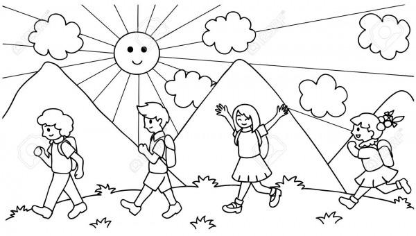 Mão Desenhada Sobre Crianças Fofos, Caminhando Para A Escola, De