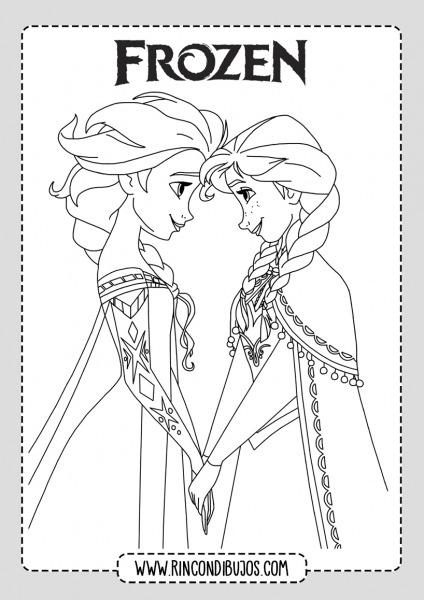 Anna Y Elsa Para Colorear