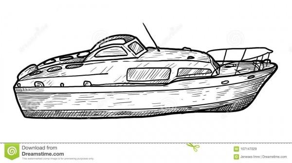 Barco De Motor, Velocidade, Ilustração, Desenho, Gravura, Tinta