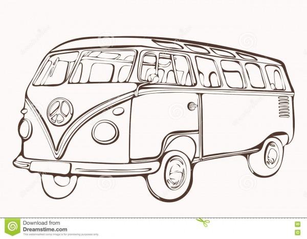 Ônibus Do Vintage, Carro Retro, Livro Para Colorir Pintado, Mão