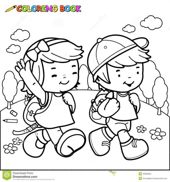 Caminhada Das Crianças Do Livro Para Colorir à Escola Ilustração