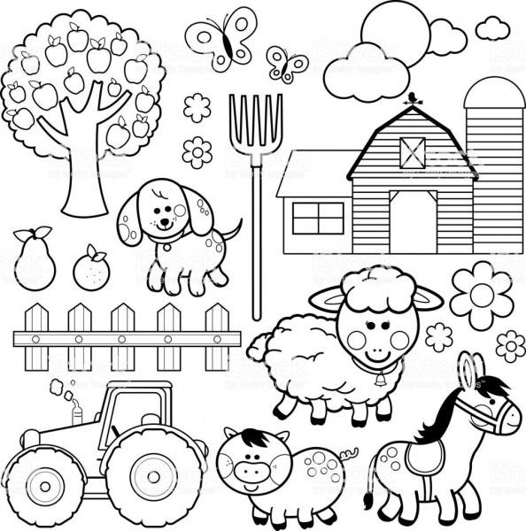 Set Of Farm Animals  Farm Animals, Donkey, Pig, Sheep, Dog, Tree
