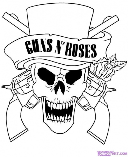 Skull Adult Fantasy Vampire Guns N' Roses Coloring Pages