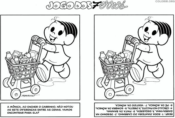 Jogo Dos 7 Erros Da Mônica No Supermercado Fazendo Compras