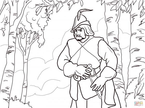 Desenho De O Caçador Da Rainha Da Floresta Para Colorir