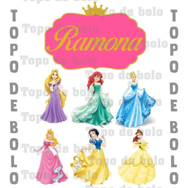 Topo De Bolo Digital Princesas Da Disney